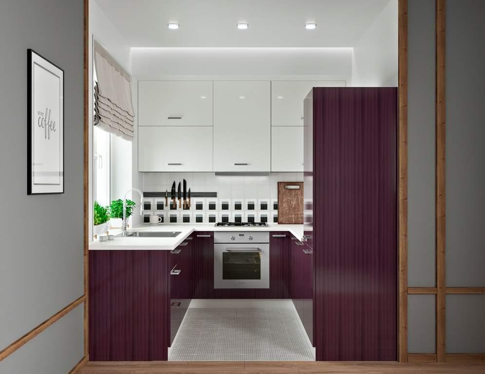 Кухня П-образная, AGT глянец, белый/фиолетовый Изображение