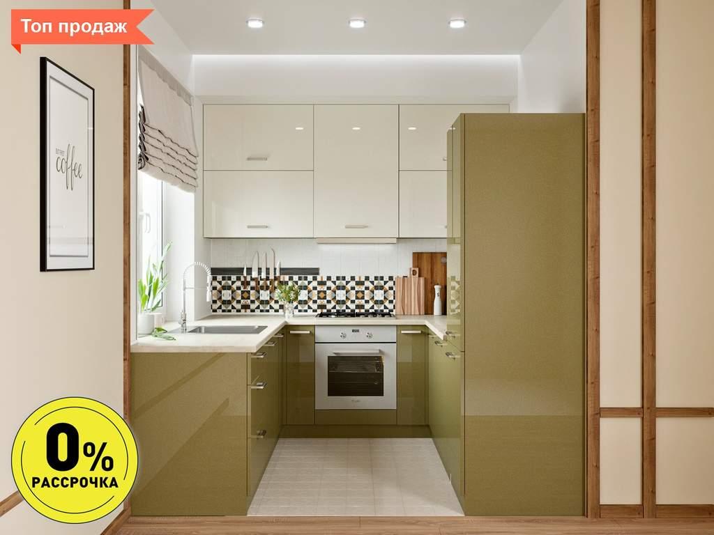 Кухня П-образняа ТБМ Люкс «Хелена» (2.2x2.2x2.2 м, бежевый/кремовый) Изображение