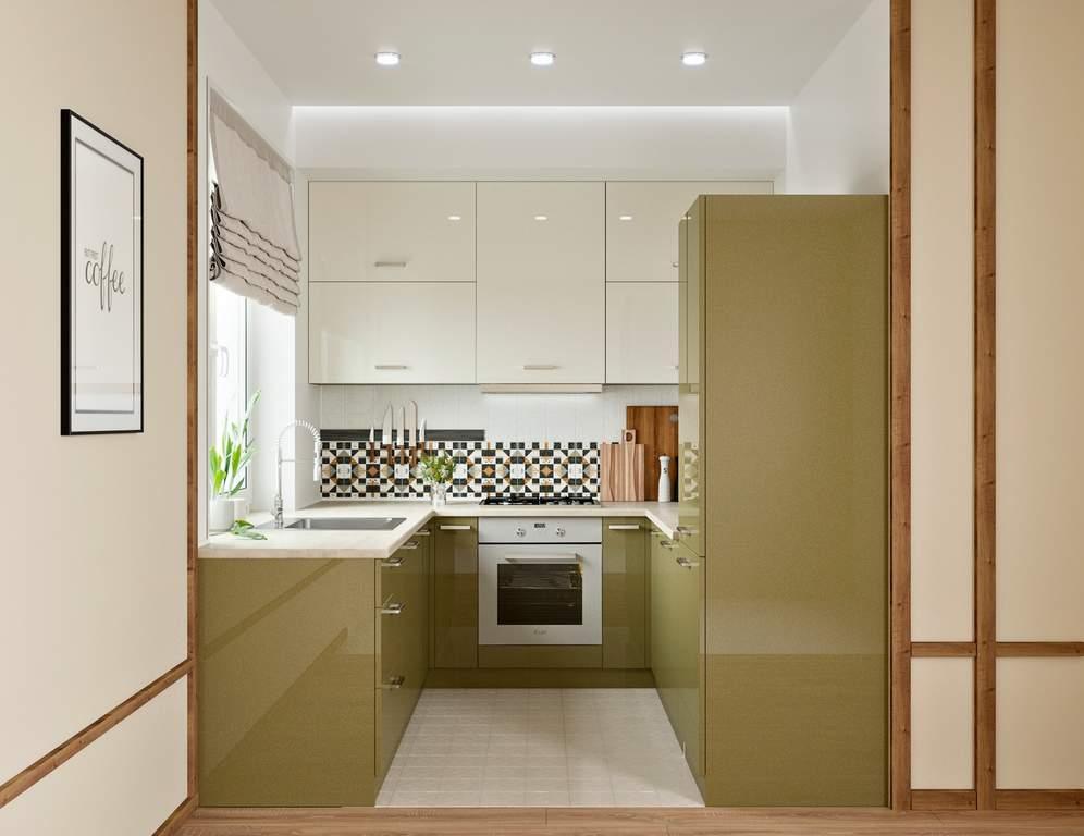 Кухня П-образная, AGT глянец, бежевый/кремовый Изображение