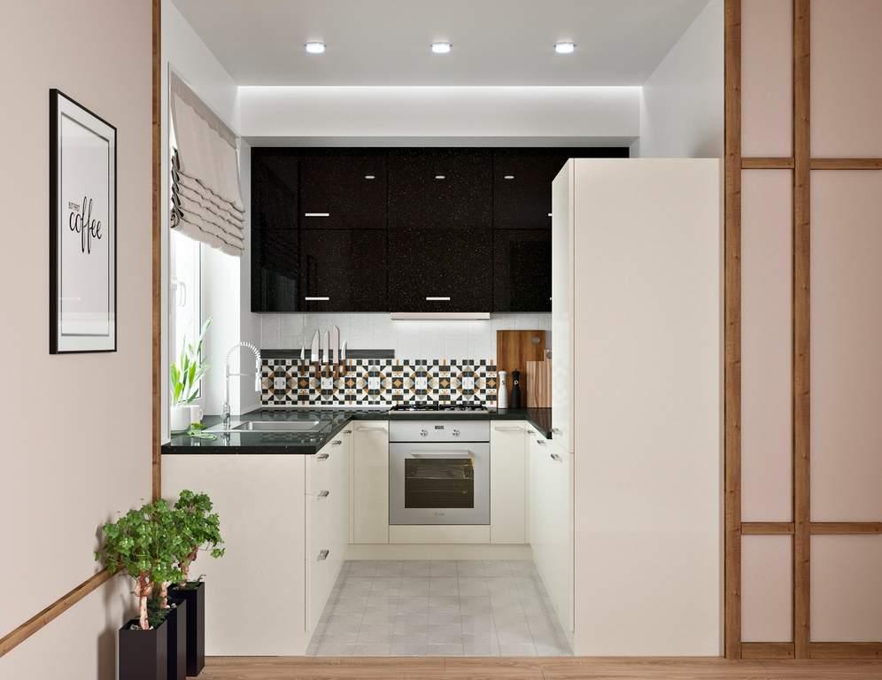 Кухня П-образняа ТБМ Люкс «Хелена» (2.2x2.2x2.2 м, черный/кремовый) Изображение 2
