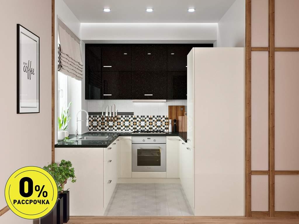 Кухня П-образняа ТБМ Люкс «Хелена» (2.2x2.2x2.2 м, черный/кремовый) Изображение