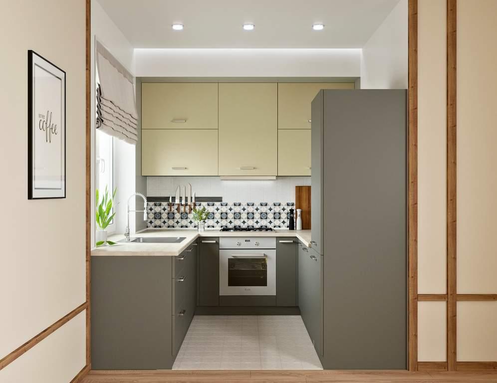 Кухня П-образная, AGT матовый, бежевый/серый Изображение