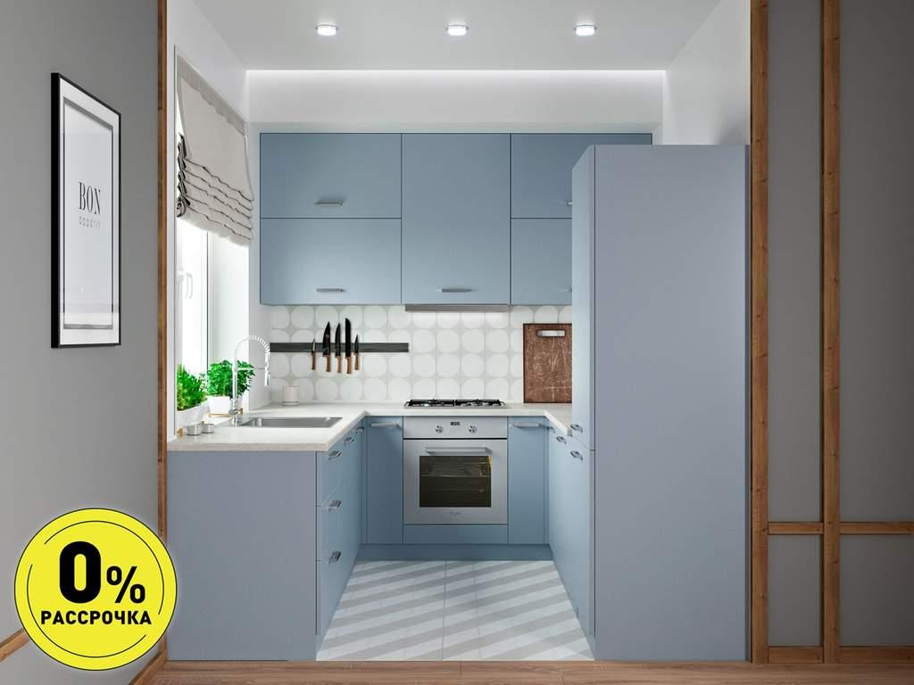 Кухня П-образняа ТБМ Люкс «Хелена» (2.2x2.2x2.2 м, голубой) Изображение