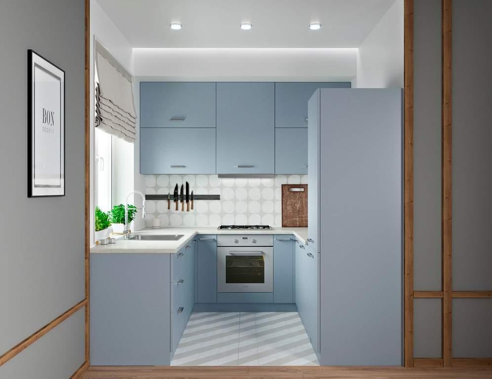Кухня П-образная, AGT матовый, голубой Изображение