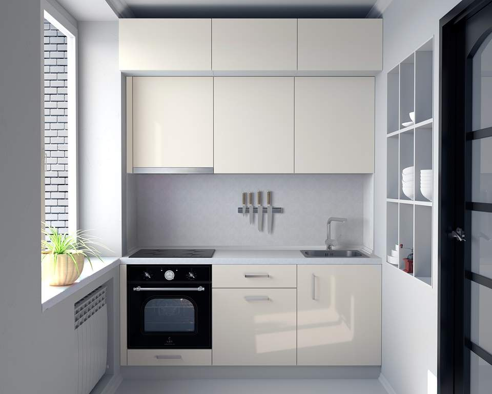 Кухня прямая, AGT глянцевый, кремовый Изображение