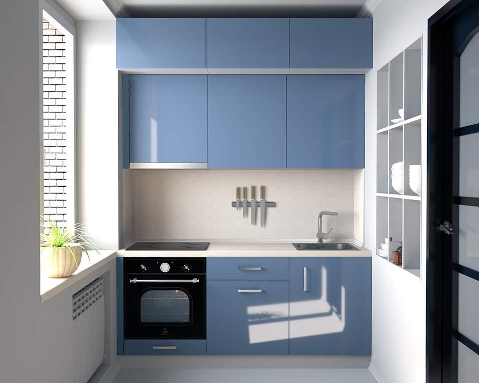 Кухня прямая, AGT глянцевый, лазурный Изображение