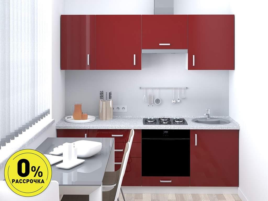 Кухня прямая ТБМ Люкс «Кэтлин» (2.2 м, красный) Изображение