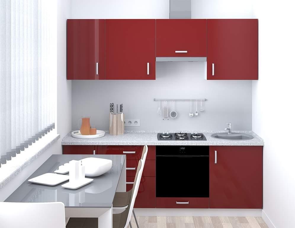 Кухня прямая, AGT глянец, алый красный Изображение