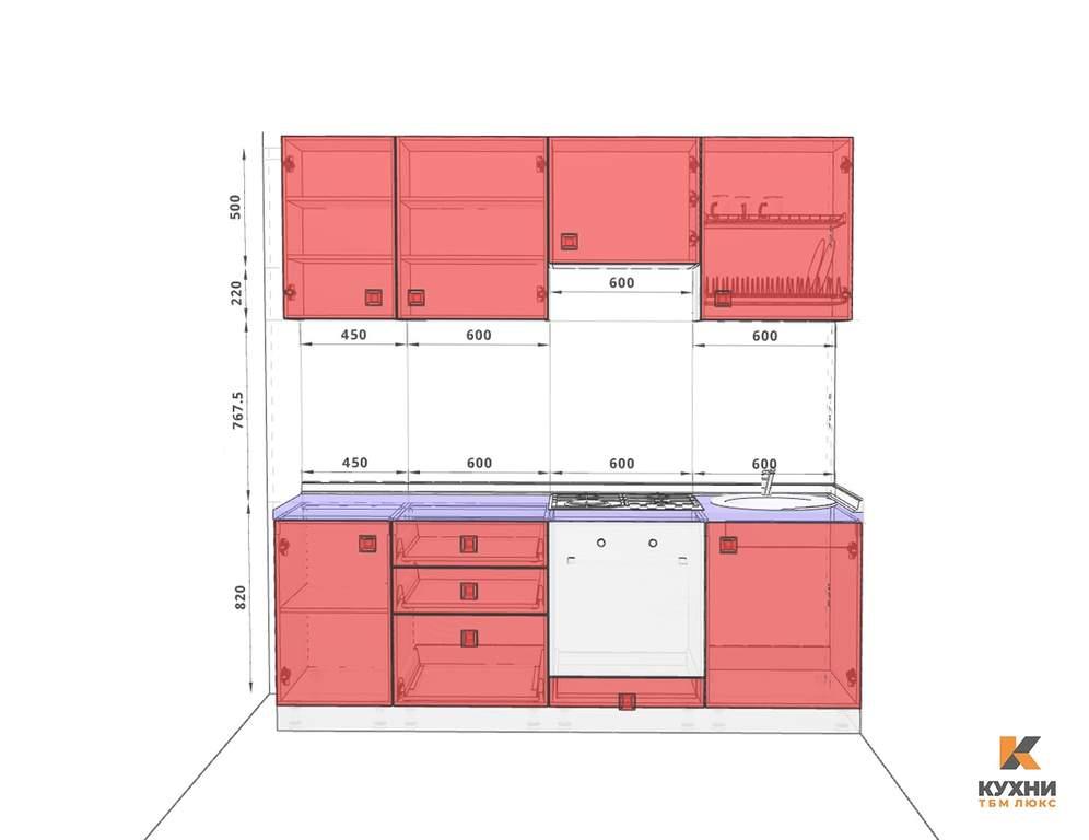 Кухня прямая, AGT глянец, алый красный Изображение 2