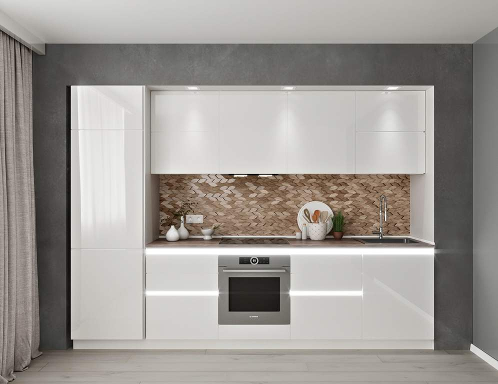 Кухня прямая, AGT глянец, белый Изображение