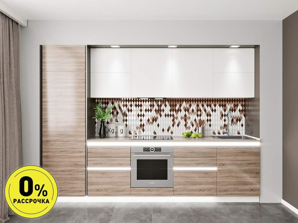 Кухня прямая ТБМ Люкс «Эмилия» (3.0 м, белый/беленый дуб) Изображение
