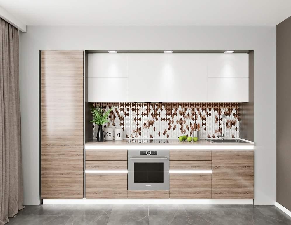 Кухня прямая, AGT глянец, белый/беленый дуб Изображение