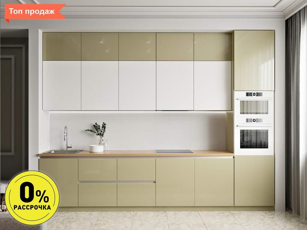 Кухня прямая ТБМ Люкс «Мелани» (3.6 м, белый/бежевый) Изображение