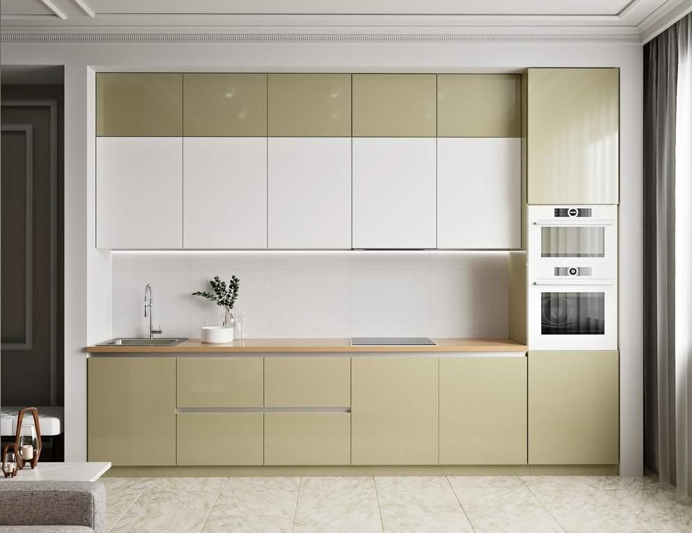 Кухня прямая, AGT глянец, белый/бежевый Изображение