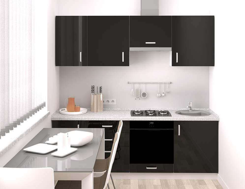 Кухня прямая, AGT глянец, черная орхидея Изображение