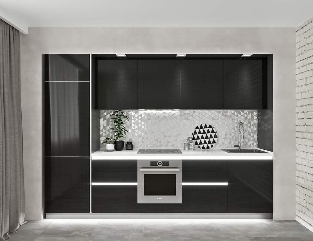 Кухня прямая, AGT глянец, черный Изображение