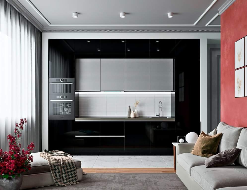 Кухня прямая, AGT глянец, черный/серый Изображение