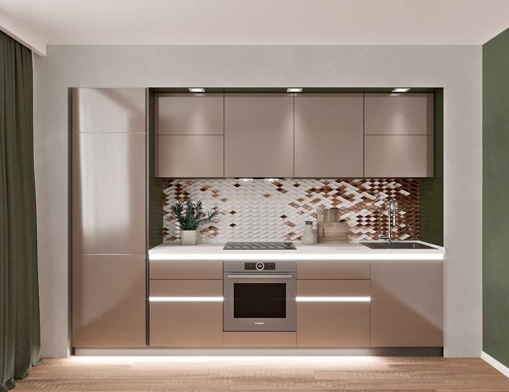 Кухня прямая, AGT глянец, коричневый Изображение