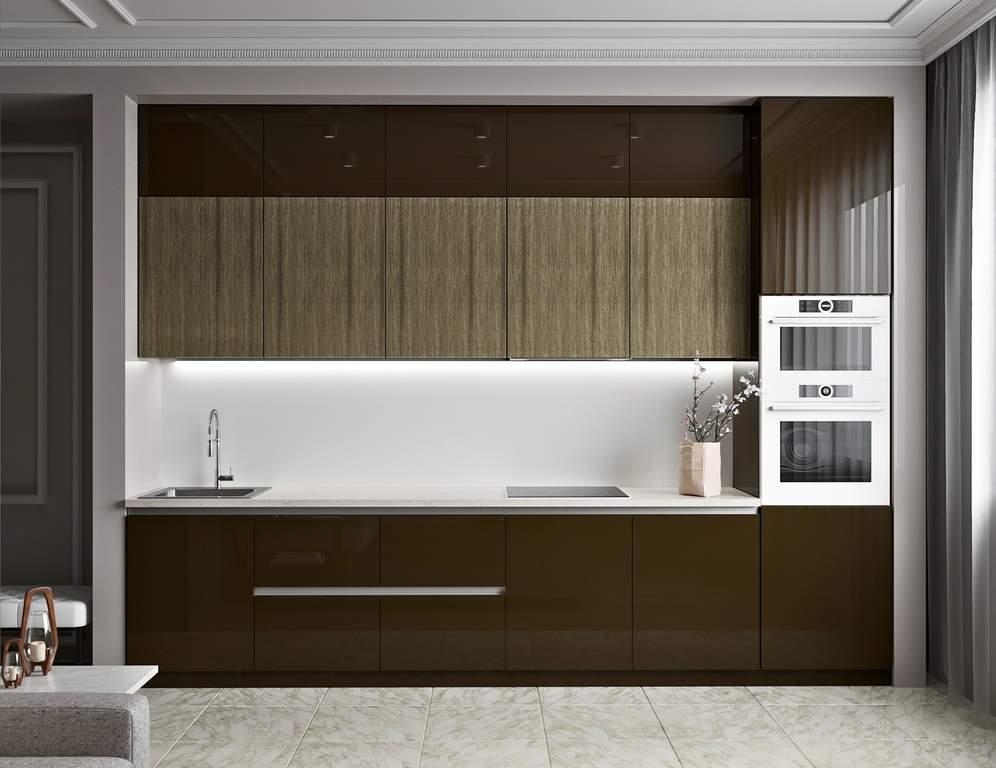 Кухня прямая, AGT глянец, коричневый/древесный Изображение