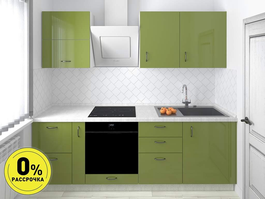 Кухня прямая ТБМ Люкс «Валери» (2.3 м, оливковый) Изображение