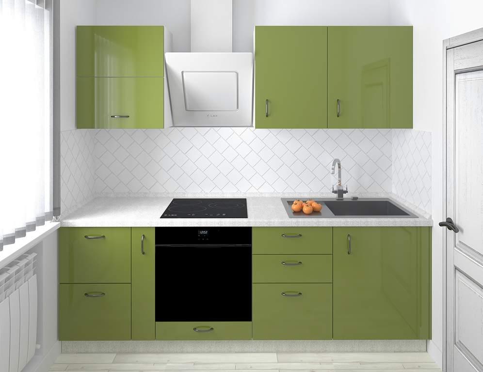 Кухня прямая, AGT глянец, оливковый Изображение
