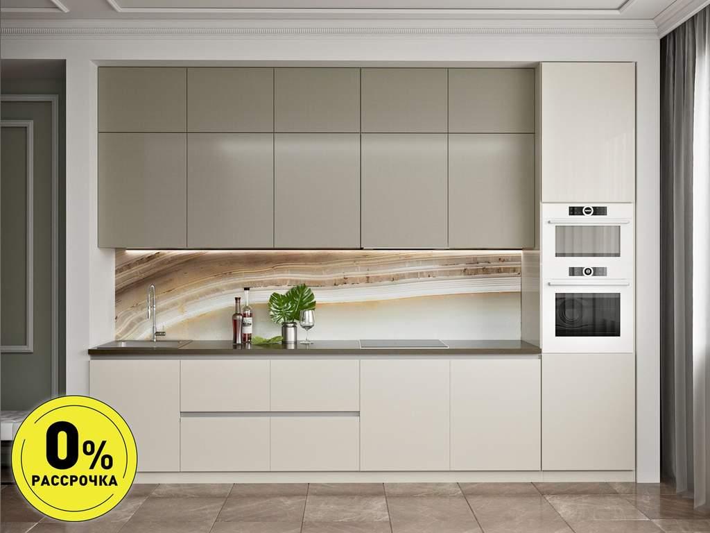 Кухня прямая ТБМ Люкс «Мелани» (3.6 м, бежевый/белый) Изображение