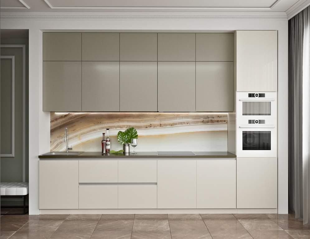 Кухня прямая, AGT глянец бежевый/матовый белый Изображение