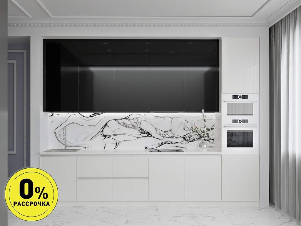 Кухня прямая ТБМ Люкс «Мелани» (3.6 м, черный/белый) Изображение