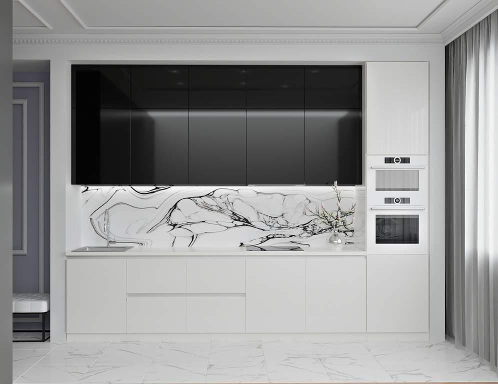 Кухня прямая, AGT глянец черный/матовый белый Изображение
