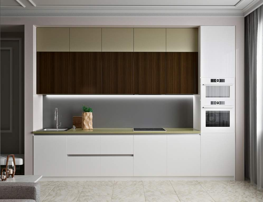 Кухня прямая ТБМ Люкс «Мелани» (3.6 м, белый/бежевый/древесный) Изображение 2