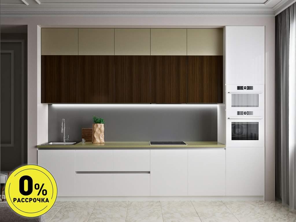 Кухня прямая ТБМ Люкс «Мелани» (3.6 м, белый/бежевый/древесный) Изображение