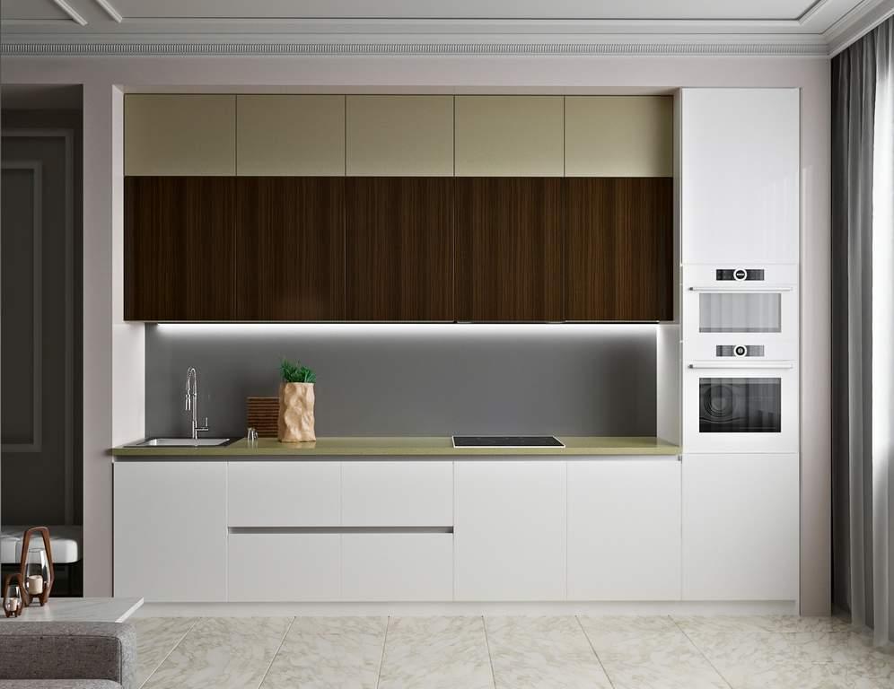 Кухня прямая, AGT матовый, белый/бежевый/древесный Изображение