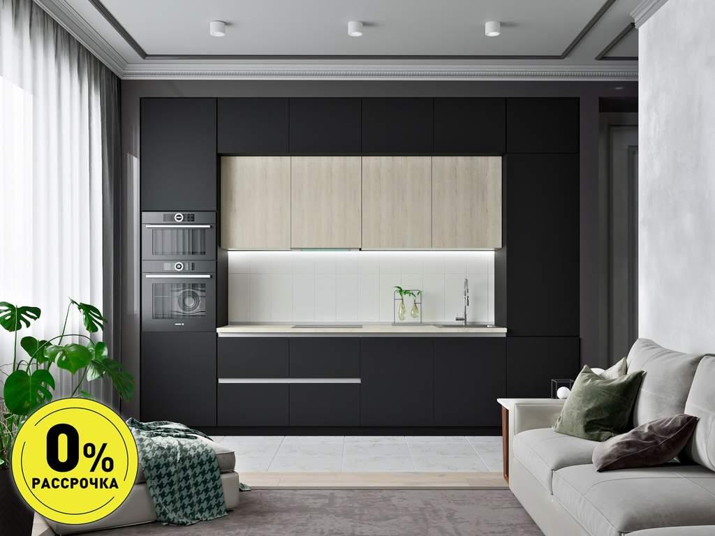 Кухня прямая ТБМ Люкс «Кристи» (3.6 м, черный/белый) Изображение