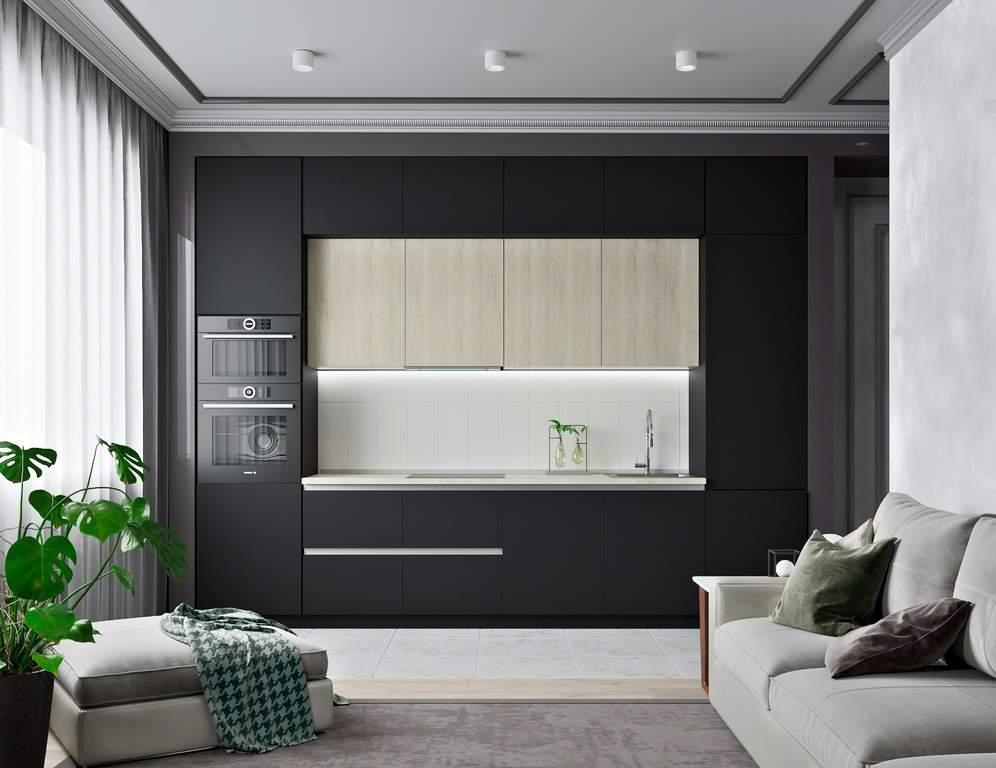 Кухня прямая, AGT матовый, черный/белый Изображение