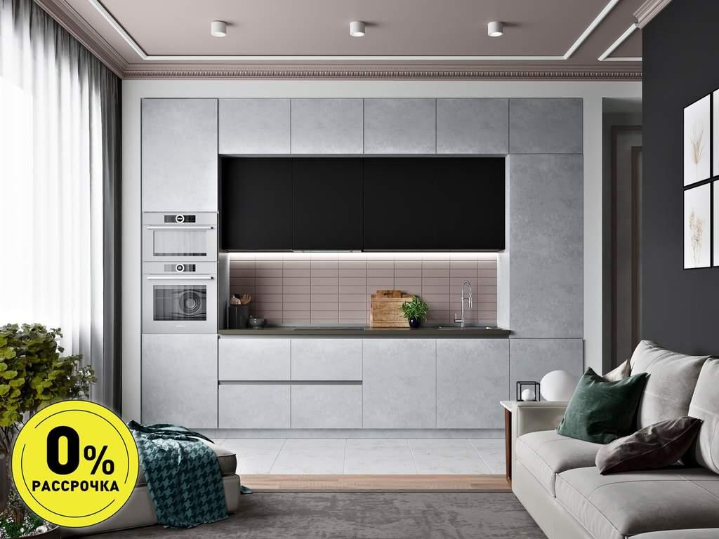 Кухня прямая ТБМ Люкс «Кристи» (3.6 м, черный/серый) Изображение