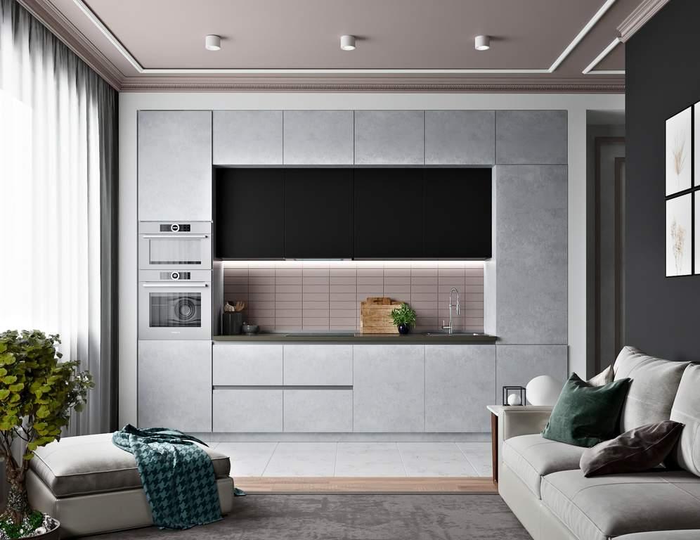 Кухня прямая, AGT матовый, черный/серый Изображение