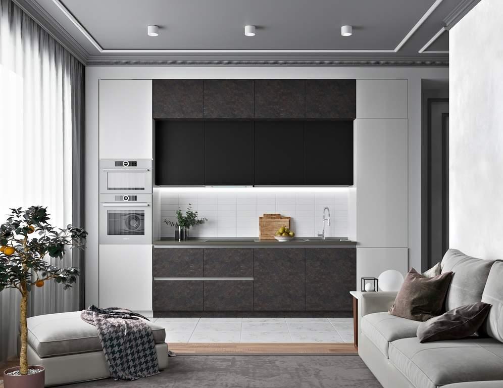 Кухня прямая ТБМ Люкс «Кристи» (3.6 м, черный/темно-серый/светло-серый) Изображение 2