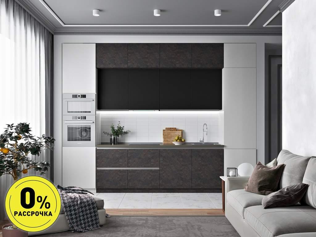 Кухня прямая ТБМ Люкс «Кристи» (3.6 м, черный/темно-серый/светло-серый) Изображение