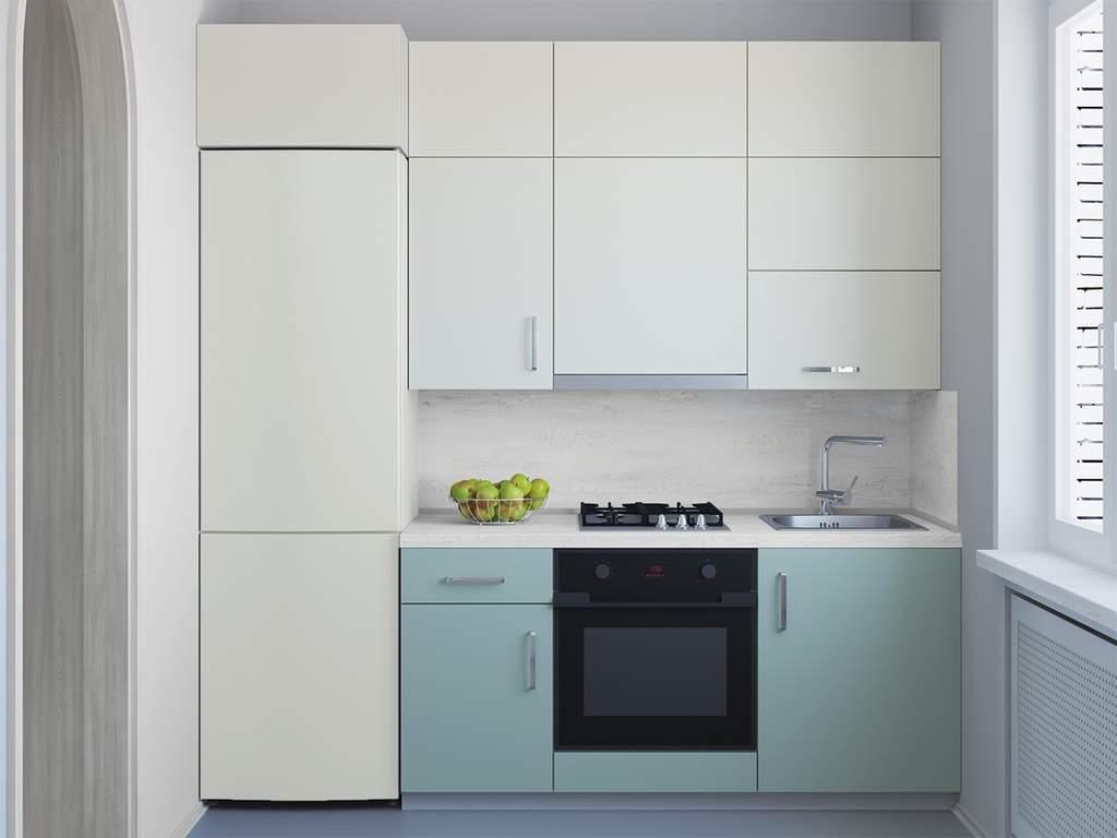 Кухня прямая, AGT матовый, кремовый/релакс грин Изображение