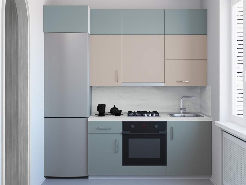 Кухня прямая, AGT матовый, пинки дэйзи/серый Изображение