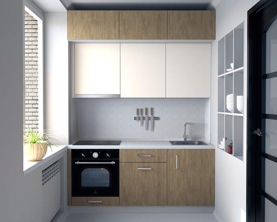 Кухня прямая, AGT матовый, сахар крем/древесный Изображение