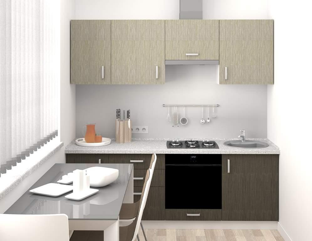 Кухня прямая, AGT матовый, светло-серый/темно-серый Изображение