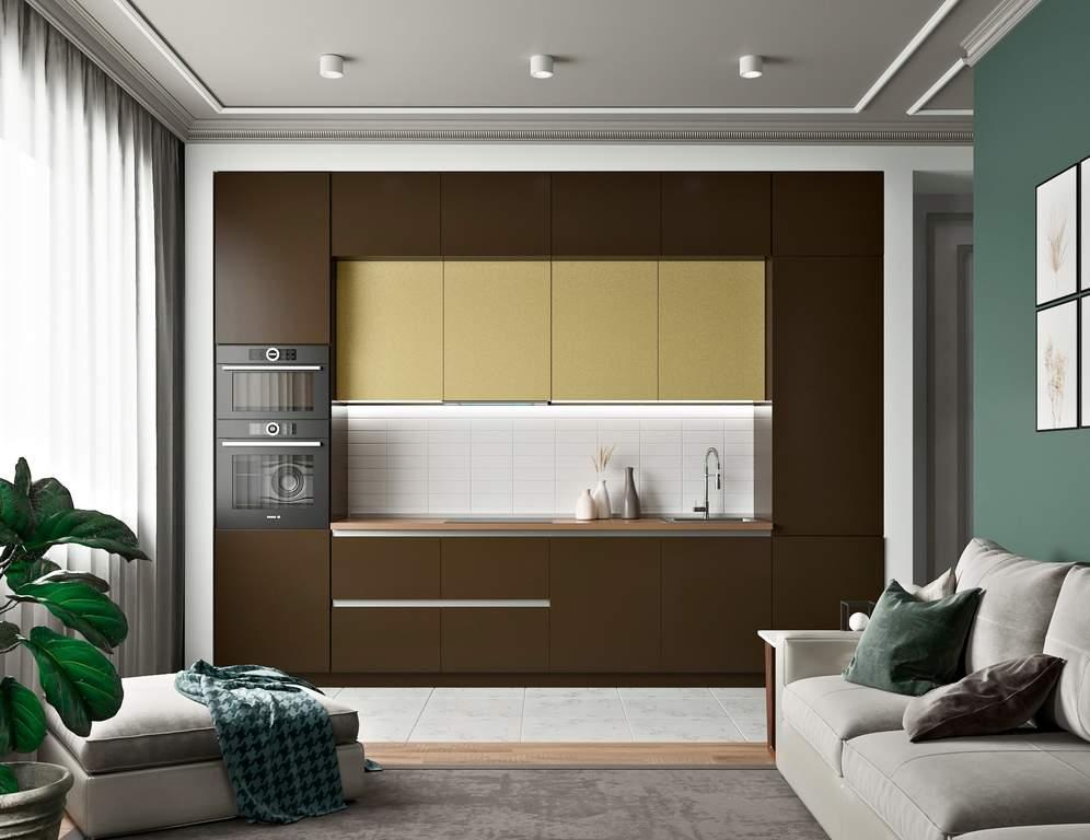 Кухня прямая, AGT матовый коричневый/глянец желтый Изображение