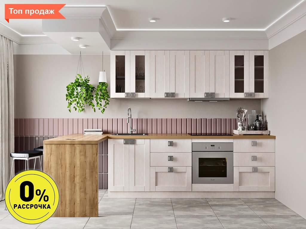 Кухня прямая ТБМ Люкс «Виктория» (2.4 м, белый) Изображение