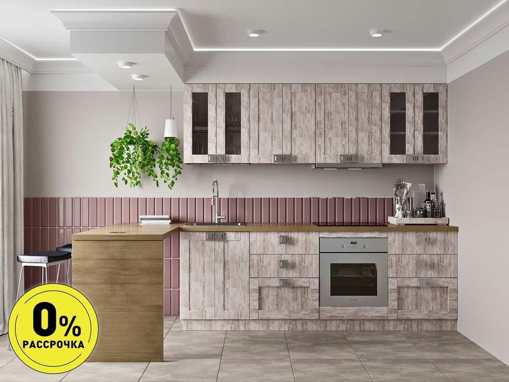 Кухня прямая ТБМ Люкс «Виктория» (2.4 м, дымчато-серый) Изображение