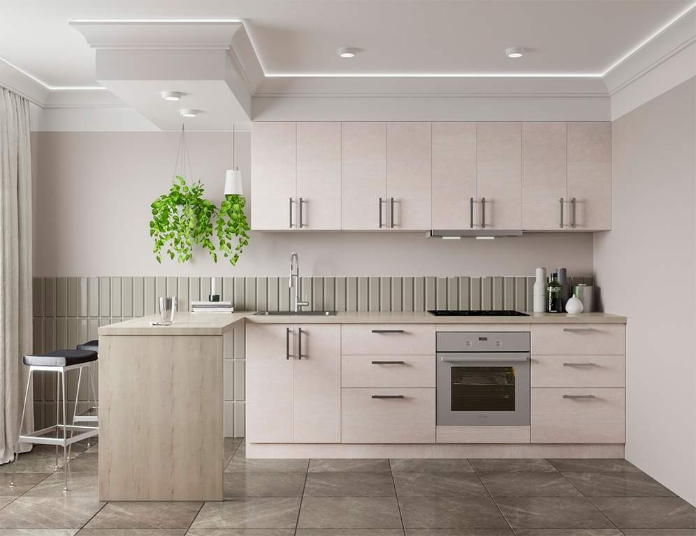 Кухня прямая, Alvic/SYNCRON матовый, молочный Изображение