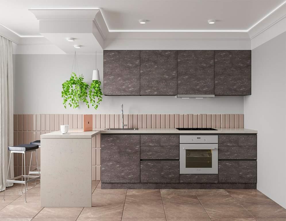 Кухня прямая, Alvic/SYNCRON матовый, серый графит Изображение