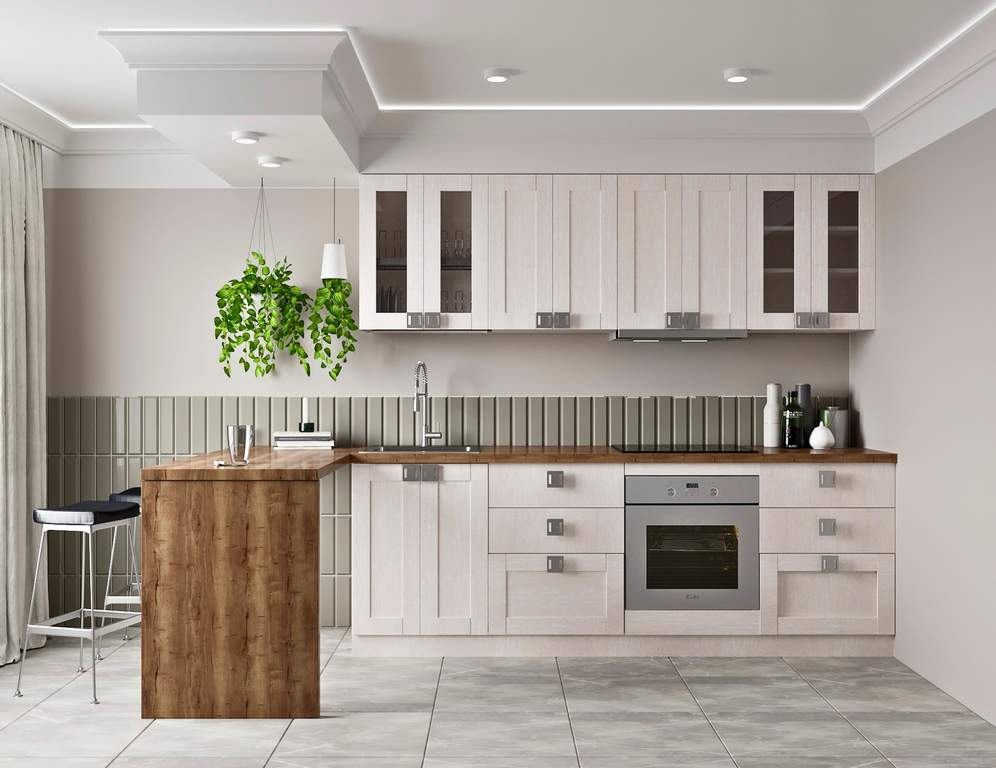 Кухня прямая ТБМ Люкс «Виктория» (2.4 м, светло-серый) Изображение 2