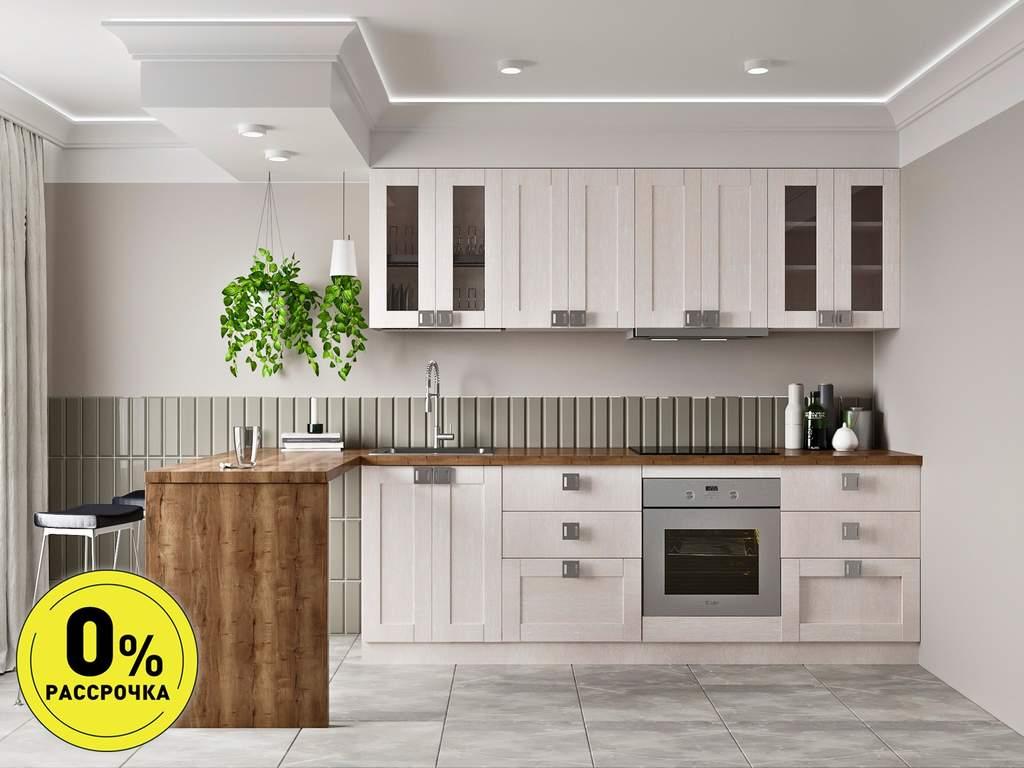 Кухня прямая ТБМ Люкс «Виктория» (2.4 м, светло-серый) Изображение
