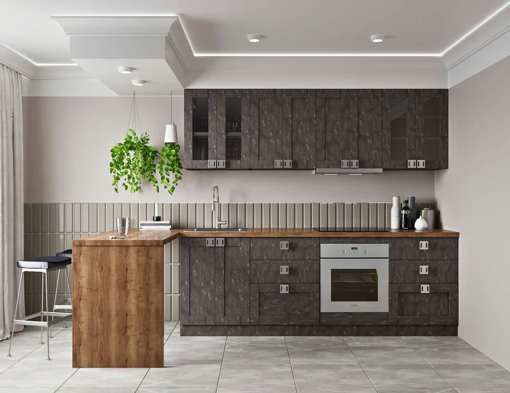 Кухня прямая ТБМ Люкс «Виктория» (2.4 м, темно-серый) Изображение 2